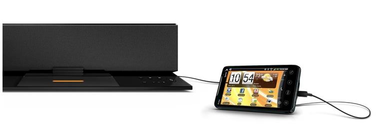 Das neueste Modell Soundstep Recharge (SFQ-02iRB) ist eine Sound-Dockingstation für mobile Endgeräte mit Raumklangverstärkung